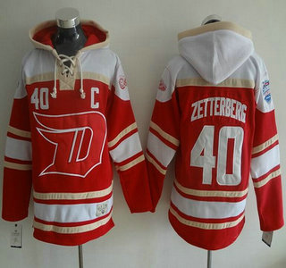 Men's Detroit Red Wings #40 Henrik Zetterberg Old Time Hockey 2016 Stadium Series Red Hoodie