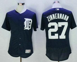ff54122da Men s Detroit Tigers  27 Jordan Zimmermann Navy Blue 2016 Flexbase Baseball  Jersey