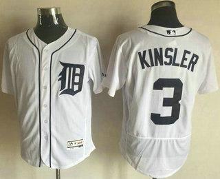 f3c2640b6 Men s Detroit Tigers  3 Ian Kinsler White Flexbase 2016 MLB Player Jersey