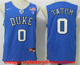 3a9dfa3063b4 mens duke blue devils 0 jayson tatum blue college basketball nike swingman stitched  2017 ncaa jersey