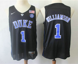 70d2ded04088 Men s Duke Blue Devils  1 Zion Williamson V Neck Black 2017 College Basketball  Nike Swingman