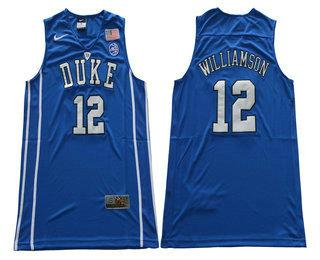 1bb4bf865754 ... mens duke blue devils 12 zion williamson v neck blue 2017 college  basketball nike swingman jersey