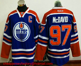 b9509e02f ... Mens Edmonton Oilers 97 Connor McDavid Royal Blue C Patch Stitched NHL  Reebok Hockey Jersey ...