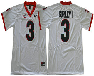 info for 5fe99 a7d58 Men's Georgia Bulldogs #3 Todd Gurley II White Limited 2017 ...