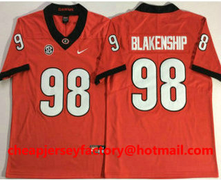 d5240ad13 Men s Georgia Bulldogs  98 Rodrigo Blankenship Vapor Limited SEC Patch Red College  Football Stitched NCAA Jersey