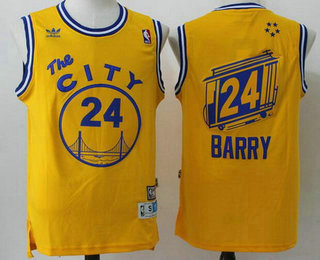 2830215842a4 Men s Golden State Warriors  24 Rick Barry Yellow Hardwood Classics Soul  Swingman Throwback The City Jersey