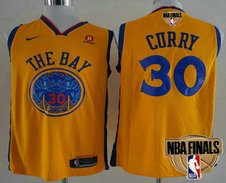 a6c5a6097 Men s Golden State Warriors  30 Stephen Curry Yellow City Edition 2018 The NBA  Finals Patch Nike Swingman Jersey