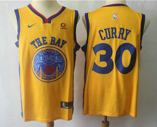 059c0f18c Men s Golden State Warriors  30 Stephen Curry Yellow NBA Swingman City  Edition Jersey