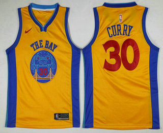 buy online 301ce b9966 Men's Golden State Warriors #30 Stephen Curry Yellow With ...