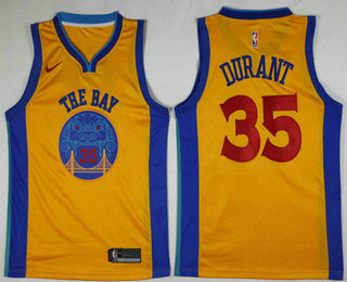 hot sale online 13c0d f7e92 Men's Golden State Warriors #35 Kevin Durant Yellow With The ...