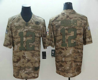 66fc09f91 Men s Green Bay Packers  12 Aaron Rodgers 2018 Camo Salute to Service  Stitched NFL Nike Limited Jersey