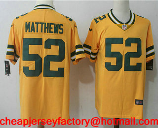more photos d8ef7 c6217 Men's Green Bay Packers #52 Clay Matthews Gold 2017 Color ...