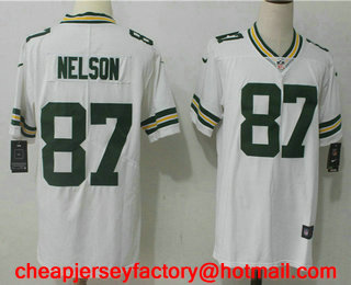 ce0db597251 ... Mens Green Bay Packers 87 Jordy Nelson White 2017 Vapor Untouchable Stitched  NFL Nike Limited Jersey ...