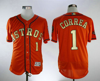 check out 570fc b5215 Men's Houston Astros #1 Carlos Correa Orange with Gold Home ...