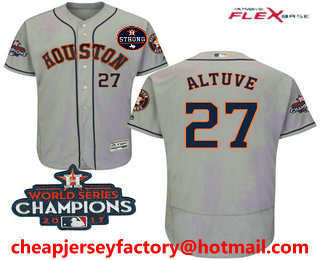 online retailer 37017 baa21 Men's Houston Astros #27 Jose Altuve Gray Road 2017 World ...