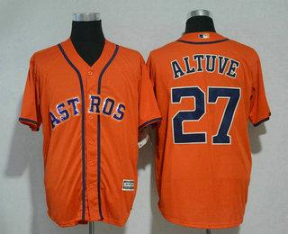 e0ce6fc77eb Men s Houston Astros  27 Jose Altuve Orange With Handwork Sequin Fashion  Astros Logo Stitched MLB Cool Base MLB Jersey