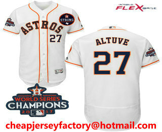 huge selection of 6f543 e7c9a Men's Houston Astros #27 Jose Altuve White Home 2017 World ...