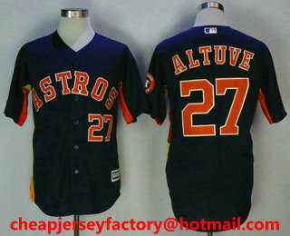 outlet store 3e465 4966c Men's Houston Astros #27 Jose Altuve With Small Number Navy ...