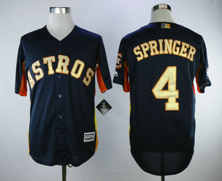 super popular da1e5 42f05 Men's Houston Astros #4 George Springer Navy Blue with Gold ...