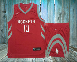 Men s Houston Rockets  13 James Harden New Red 2017-2018 Nike Swingman  Stitched NBA Jersey With Shorts 29c9618d5