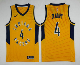 6d50b582cf7c Men s Indiana Pacers  4 Victor Oladipo New Yellow 2017-2018 Nike Swingman  Stitched NBA Jersey