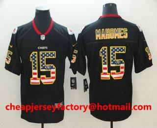6f4fe22dfd2 Men s Kansas City Chiefs  15 Patrick Mahomes II 2018 USA Flag Fashion Black  Color Rush