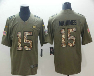 cae59710fb2 ... Nike Limited Jersey $ 21.5. Men's Kansas City Chiefs #15 Patrick Mahomes  II Olive With Camo 2017 Salute To Service