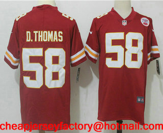 84883d5aa Men s Kansas City Chiefs  58 Derrick Thomas Red 2017 Vapor Untouchable Stitched  NFL Nike Limited Jersey