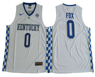 93834851594 Men s Kentucky Wildcats  0 De Aaron Fox White College Basketball 2017 Nike  Swingman Stitched NCAA Jersey