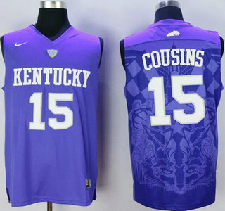 Men s Kentucky Wildcats  15 DeMarcus Cousins Purple College Basketball  Jersey 504e24379