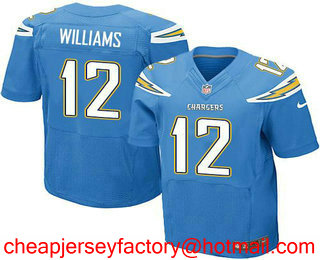 f5e55567d ... Mens Los Angeles Chargers 12 Mike Williams Light Blue Alternate  Stitched NFL Nike Elite Jersey ...