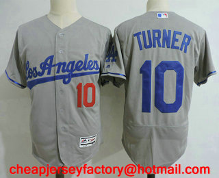 c91c44e618f Men s Los Angeles Dodgers  10 Justin Turner Gray Road Stitched MLB Flex Base  Jersey