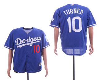 8806c2d8b Men s Los Angeles Dodgers  10 Justin Turner With Small Number Sleeves Team  Logo Royal Blue Stitched MLB Cool Base MLB Jersey