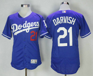90545f661e2 Men s Los Angeles Dodgers  21 Yu Darvish Royal Blue Stitched MLB Flex Base  Jersey