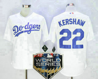 3de1c3eb7 Men s Los Angeles Dodgers  22 Clayton Kershaw White 2018 World Series Patch  MLB Cool Base