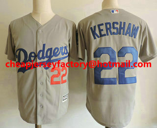 Men s Los Angeles Dodgers  22 Clayton Kershaw With Small Number Gray  Alternate Stitched MLB Cool Base Jersey 31e7baf19