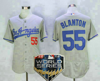 d71878136 Men s Los Angeles Dodgers  55 Joe Blanton Gray Road 2018 World Series Patch  Stitched MLB Majestic Flex Base Jersey