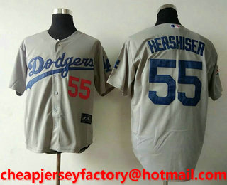 71eb4d0c Men's Los Angeles Dodgers #55 Orel Hershiser Retired Gray Cooperstown  Collection Stitched MLB Jersey