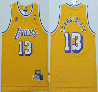 meet 26fbe 4d3ea Men's Los Angeles Lakers #13 Wilt Chamberlain 1996-97 Yellow ...