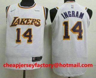 pretty nice 4d195 bc6d0 Men's Los Angeles Lakers #14 Brandon Ingram New White 2019 ...