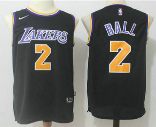 a19ad0e0bf00 Men s Los Angeles Lakers  2 Lonzo Ball Black With Purple Name 2017-2018  Nike Swingman Stitched NBA Jersey