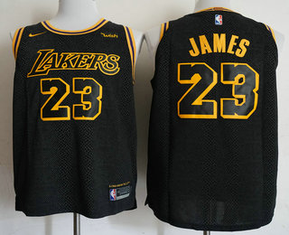 free shipping b58b9 1f966 Men's Los Angeles Lakers #23 LeBron James Black 2017-18 Nike ...