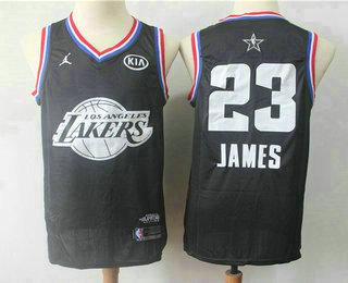 367c05f87f45 Men s Los Angeles Lakers  23 LeBron James Jordan Brand Black 2019 All-Star  Game Swingman Jersey With The Sponsor Logo