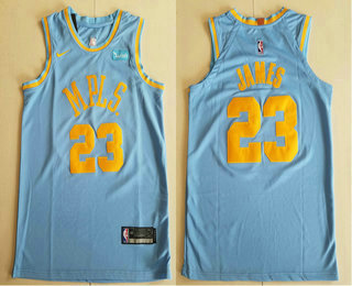 detailed look 1e633 48c6e Men's Los Angeles Lakers #23 LeBron James MPLS Blue Hardwood ...
