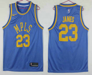 detailed look c56cf 7f6a5 Men's Los Angeles Lakers #23 LeBron James MPLS Blue Hardwood ...