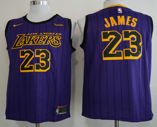 reputable site 07ac7 86b38 Men's Los Angeles Lakers #23 LeBron James NEW Purple 2019 ...