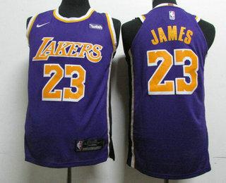 san francisco 92b3d 783a4 Men's Los Angeles Lakers #23 LeBron James Purple 2018-19 ...