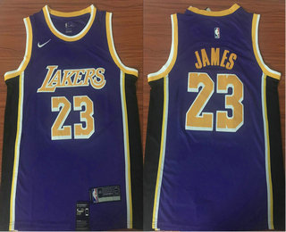 bb0a19850 Men s Los Angeles Lakers  23 LeBron James Purple With Black 2018-2019 Nike  Swingman Stitched NBA Jersey