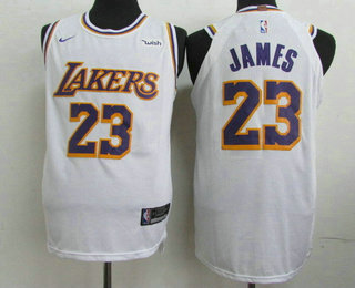 reputable site 0acca 02a46 Men's Los Angeles Lakers #23 LeBron James White 2018-19 Nike ...
