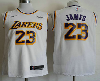 purchase cheap 960a2 de548 Men's Los Angeles Lakers #23 LeBron James Yellow 2018-19 ...